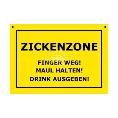 """Türschild Baustellenschild """"Zickenzone"""" - Verbotene Schilder"""