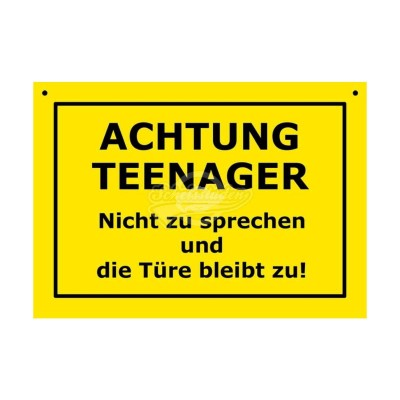 """Türschild Baustellenschild """"Achtung Teenager"""" - Verbotene Schilder"""