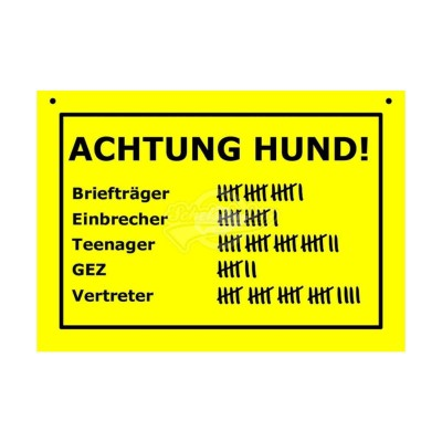 """Türschild Baustellenschild """"Achtung Hund.."""" - Verbotene Schilder"""