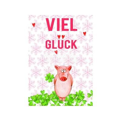 """Postkarte """"Viel Glück"""" - Schweinchen"""