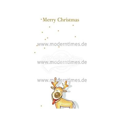 """Postkarte Weihnachten ARTCONCEPT © STRASSEK, Kathrin """"MERRY CHRISTMAS RENTIER ÄTSCH"""" - von Modern Times - scheissladen.com"""