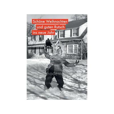 """Postkarte Weihnachten ALLERHAND © LAMBERT/Archive Photos/getty """"SCHÖNE WEIHNACHTEN UND GUTEN RUTSCH"""" - von Modern Times - scheissladen.com"""