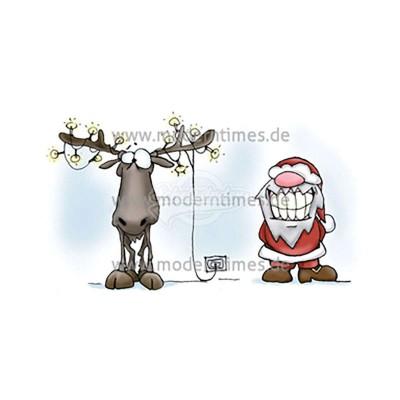 Postkarte Weihnachten ARTIMEDES © WWW.YEPEECARDS.CH SANTA & ERIC - LICHTERKETTE IM GEWEIH - von Modern Times - scheissladen.com