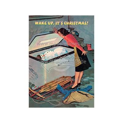 Postkarte Weihnachten BIZARR © BIZARRWORLD WAKE UP - von Modern Times - scheissladen.com