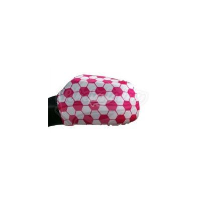 """Autospiegel Überzug """"Fußball"""" in pink/weiß"""