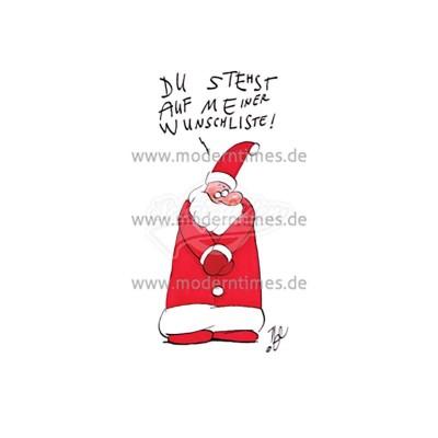 Postkarte Weihnachten KÖPENICKER CG © NEL DU STEHST AUF MEINER WUNSCHLISTE* CG 992 - von Modern Times - scheissladen.com
