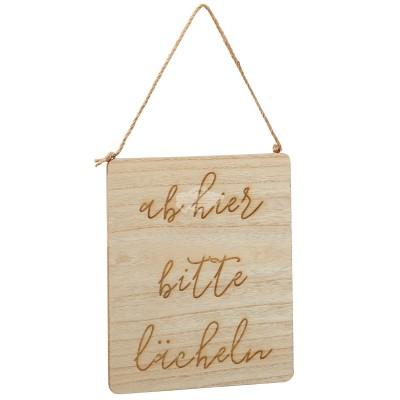 Holzschild ''Ab hier bitte lächeln''