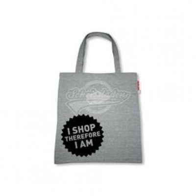 "Stofftasche ""I shop therefore I am"""