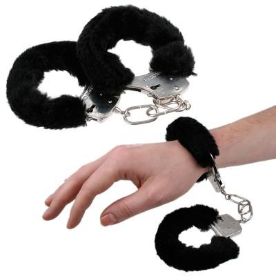 Plüsch-Handschellen - schwarz