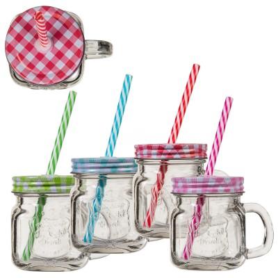 Retro Trinkglas - versch. Farben