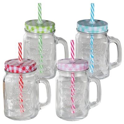 Trinkglas Einmachglas mit Schraubverschluss und Trinkhalm – versch. Farben
