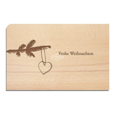 """Holzpostkarte """"Tannenzweig - Weihnachten"""" - von Holzpost - scheissladen.com"""