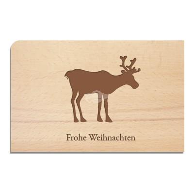 """Holzpostkarte """"Rentier - Weihnachten"""" - von Holzpost - scheissladen.com"""