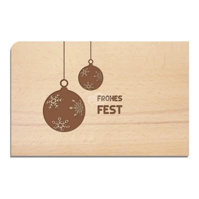"""Holzpostkarte """"Kugeln - Weihnachten"""" - von Holzpost - scheissladen.com"""