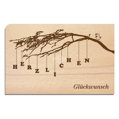 """Holzpostkarte """"Zweig"""""""