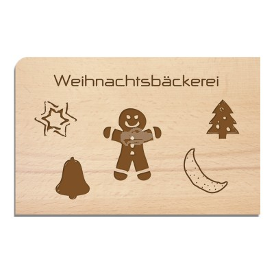 "Holzpostkarte ""Weihnachtsbäckerei"""