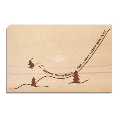 """Holzpostkarte """"Skikolaus - Weihnachten"""" - von Holzpost - scheissladen.com"""