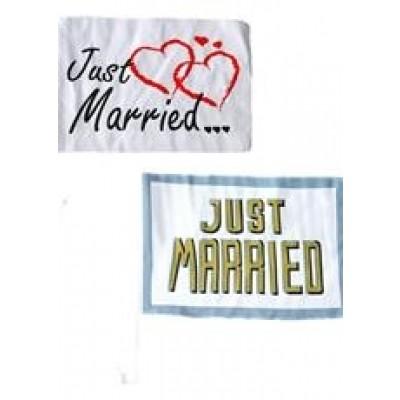 """Autofahne """"Just Married"""" - versch. Motive"""