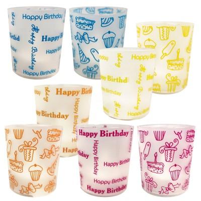 """Geburtstags - Windlicht LED """"Happy Birthday"""" - versch. Farben"""