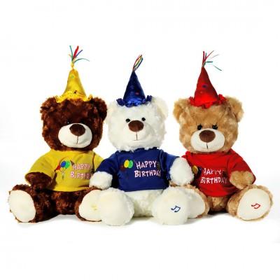 """Geburtstags - Teddybär mit Musik """"Happy Birthday"""" - versch. Farben"""
