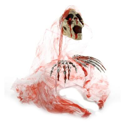 Halloween Blutiger Schädel mit Leuchtaugen 4tlg.