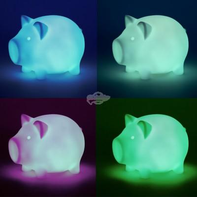 """Lampe LED """"Schwein"""" - mit Farbwechsler"""