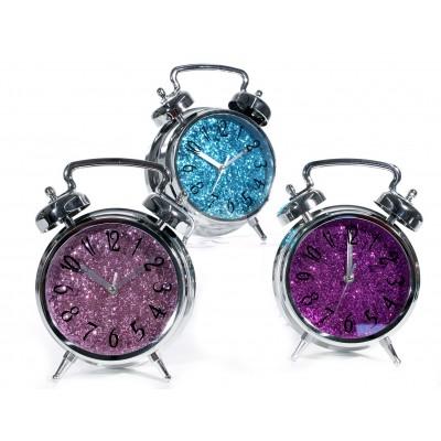 """Uhr im Weckerdesign """"Glitter"""" - versch. Farben"""