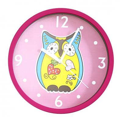 """Wanduhr """"Eule"""" Kinderzimmer Uhu Tier Vogel pink"""