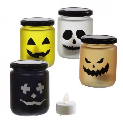 """Windlicht """"Halloween"""", inkl. LED Teelicht - in versch. Farben erhältlich"""