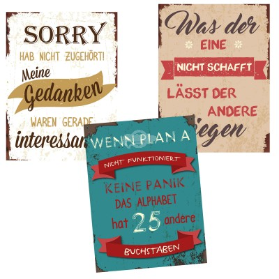 Blechschild Sprüche ''Cool'', versch. Designs