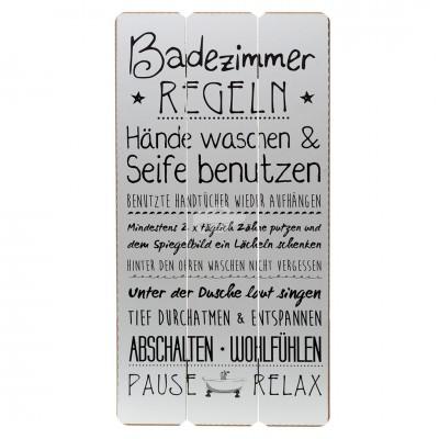 """Plankenschild """"Badezimmer Regeln"""""""