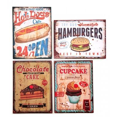 """Bild auf Holzrahmen """"Fast Food"""" - versch. Designs"""