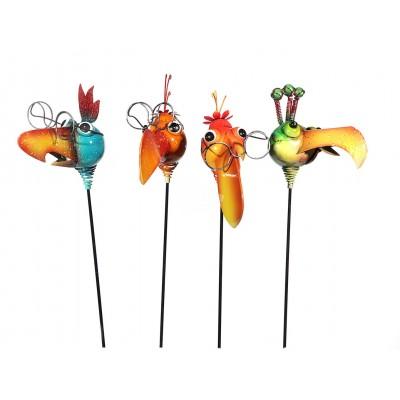 """Gartenstecker """"Lustiger Vogelkopf"""" 80 cm - versch. Farben"""