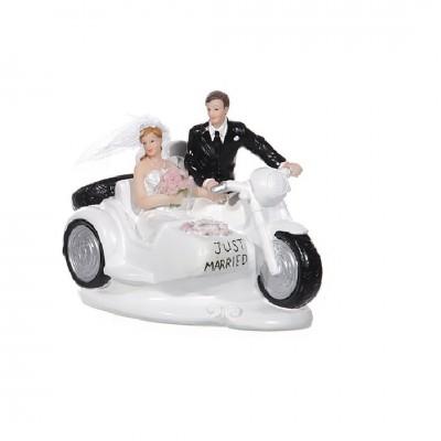 """Tortenfigur """"Brautpaar auf Motorrad"""""""