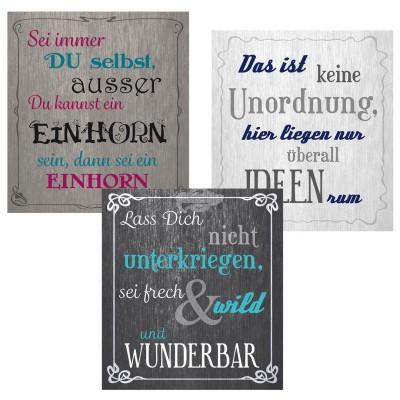 Holzbild mit Spruch, versch. Designs