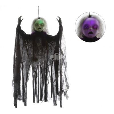 Halloween ''Zombie Puppe'' mit LED - versch. Farben