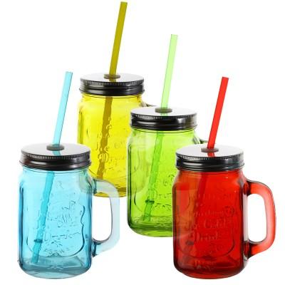 """Trinkglas mit Henkel """"bunt"""" - versch. Farben"""