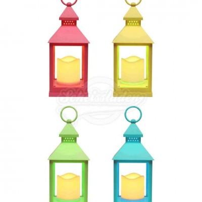 Laterne mit LED-Kerze und Timer – versch. Farben