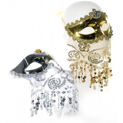"""Maske """"Venedig"""" mit Schleier - versch. Farben"""