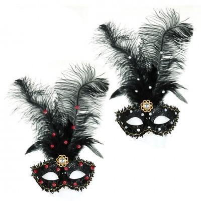 Venezianische Maske mit Federn und Strasssteinen, versch. Farben