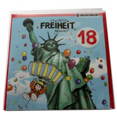 """Musikkarte """"Archies 18. Geburtstag die grosse Freiheit beginnt ..."""""""