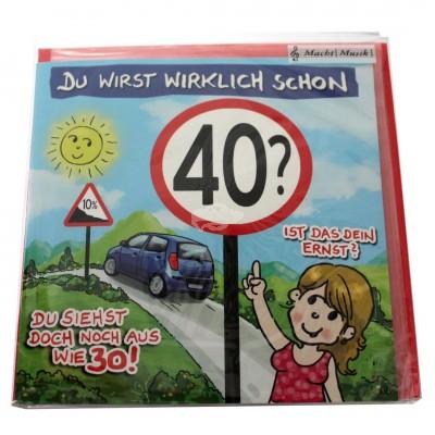 """Musikkarte """"Archies Musikkarte Du wirst wirklich schon 40"""""""