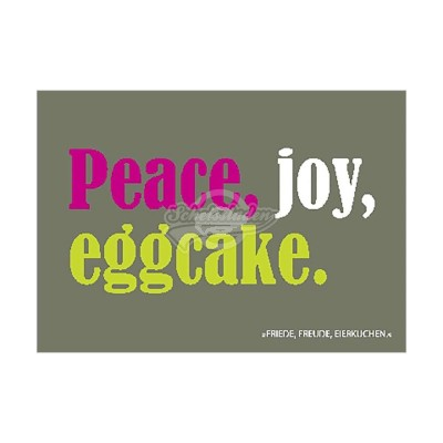 "Postkarte Forbetter Your English ""Peace, joy, eggcake"""