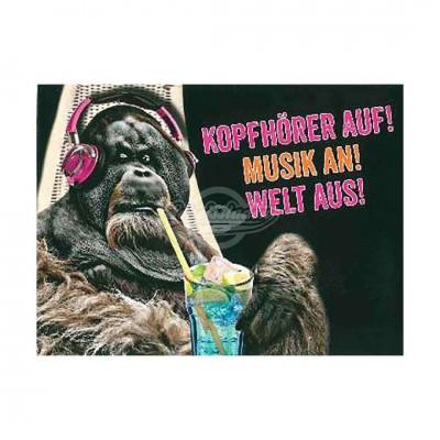 """Postkarte Undercover """"Kophöfer auf Musik an Welt aus"""""""