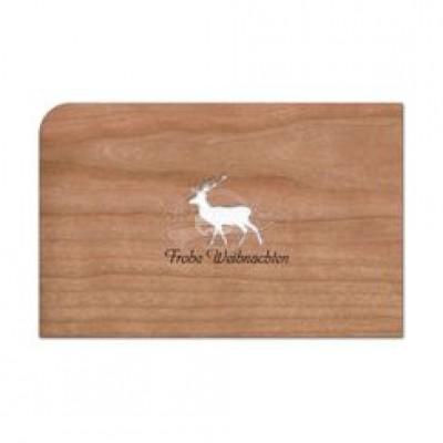 """Grußkarte aus Holz """"Rentier - Frohe Weihnachten"""" mit Umschlag - von Holzpost - scheissladen.com"""