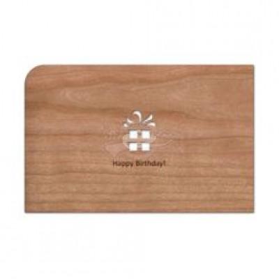 """Grußkarte aus Holz """"Happy Birthday"""" mit Umschlag"""