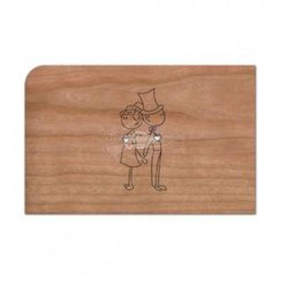 """Grußkarte aus Holz """"Hochzeitspaar"""" mit Umschlag"""