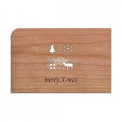 """Grußkarte aus Holz """"Xmas - Weihnachten"""" mit Umschlag - von Holzpost - scheissladen.com"""