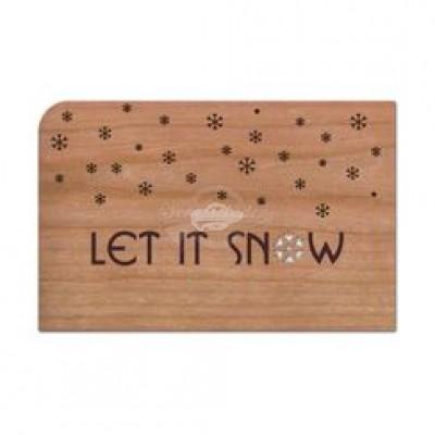 """Grußkarte aus Holz """"SNOW - Let it Snow - Weihnachten"""" mit Umschlag - von Holzpost - scheissladen.com"""
