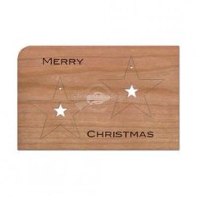 """Grußkarte aus Holz """"Anhänger Sterne - Merry Christmas Weihnachten"""" mit Umschlag - von Holzpost - scheissladen.com"""